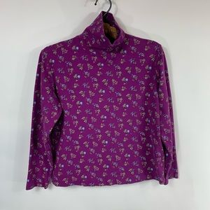 Purple Floral Cottage Core Turtleneck Top Cotton L